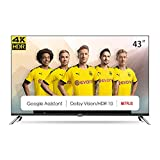 CHiQ U43H7A Randloser Android UHD LED Fernseher 43 Zoll TV 4k Randlos Smart TV 108 cm Bilddiagonale [Made in EU] (Version 2020, Ultra HD, Prime Video und Chromecast)
