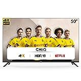CHiQ Rahmenloser UHD Fernseher 50 Zoll TV 4k Randlos Smart TV 126 cm Bilddiagonale [Assembled in EU] (Version 2020, Video, YouTube, Netflix)