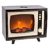 LED-Kaminfeuer mit flammeneffekt | Retro-TV Design | Nostalgie Fernseher | 21,5 cm x 13 cm x 18 cm | Flammenlicht stufenlos dimmbar