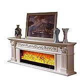 Holz Moderne 3D Electric Fire Realistische LED Flammeneffekt Kamin 750 / 1500W 7-Tage-24-Stunden-Timer Und Fernbedienung Holz TV Ständer Mit Kamin Kern