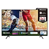 Hisense 75AE7000F 190 cm (75 Zoll) Fernseher (4K Ultra HD, HDR, Triple Tuner DVB-C/ S/ S2/ T/ T2, Smart-TV, Frameless, Bluetooth, Alexa, verstellbare Standfüße)