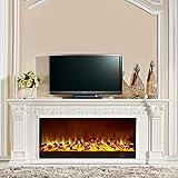 Kamin TV Stände, moderner 3D Electric Fire Realistische LED Flammeneffekt Kamin 750 / 1500W 7-Tage-24-Stunden-Timer und Fernbedienung aus Holz TV-Schrank mit Kamin Kern, gefälschter Kamin,777